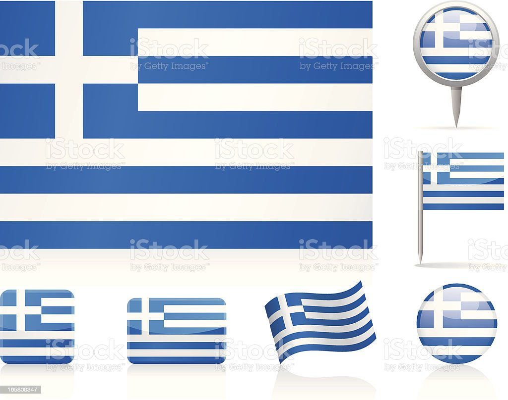 Flags of Greece - icon set royalty-free stock vector art