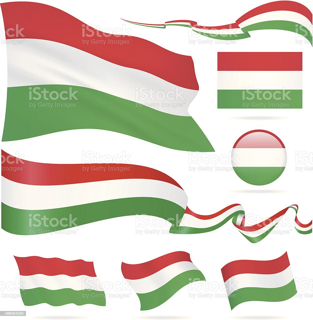Flags of Hungary - icon set - Illustration vector art illustration
