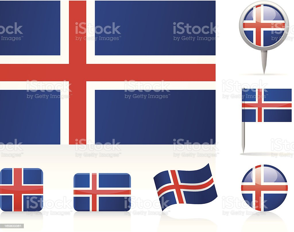 Flags of Iceland - icon set royalty-free stock vector art