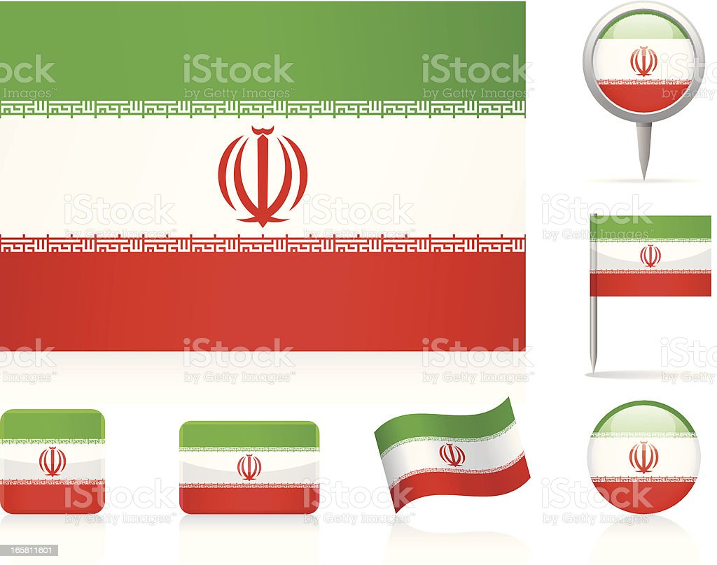 Flags of Iran - icon set vector art illustration