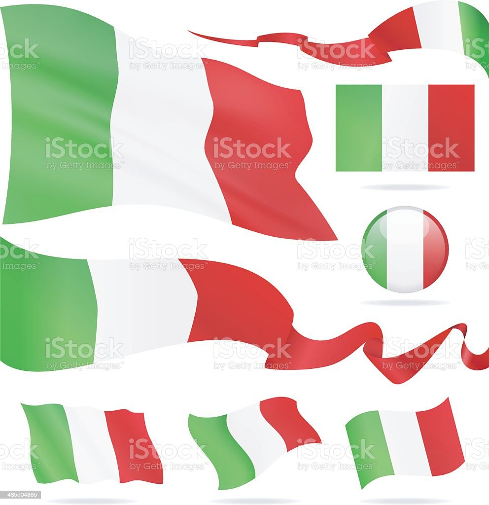 Flags of Italy - icon set - Illustration vector art illustration