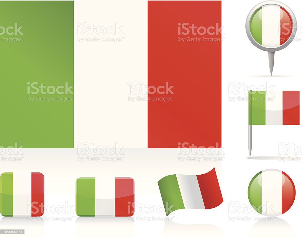 Flags of Italy - icon set vector art illustration