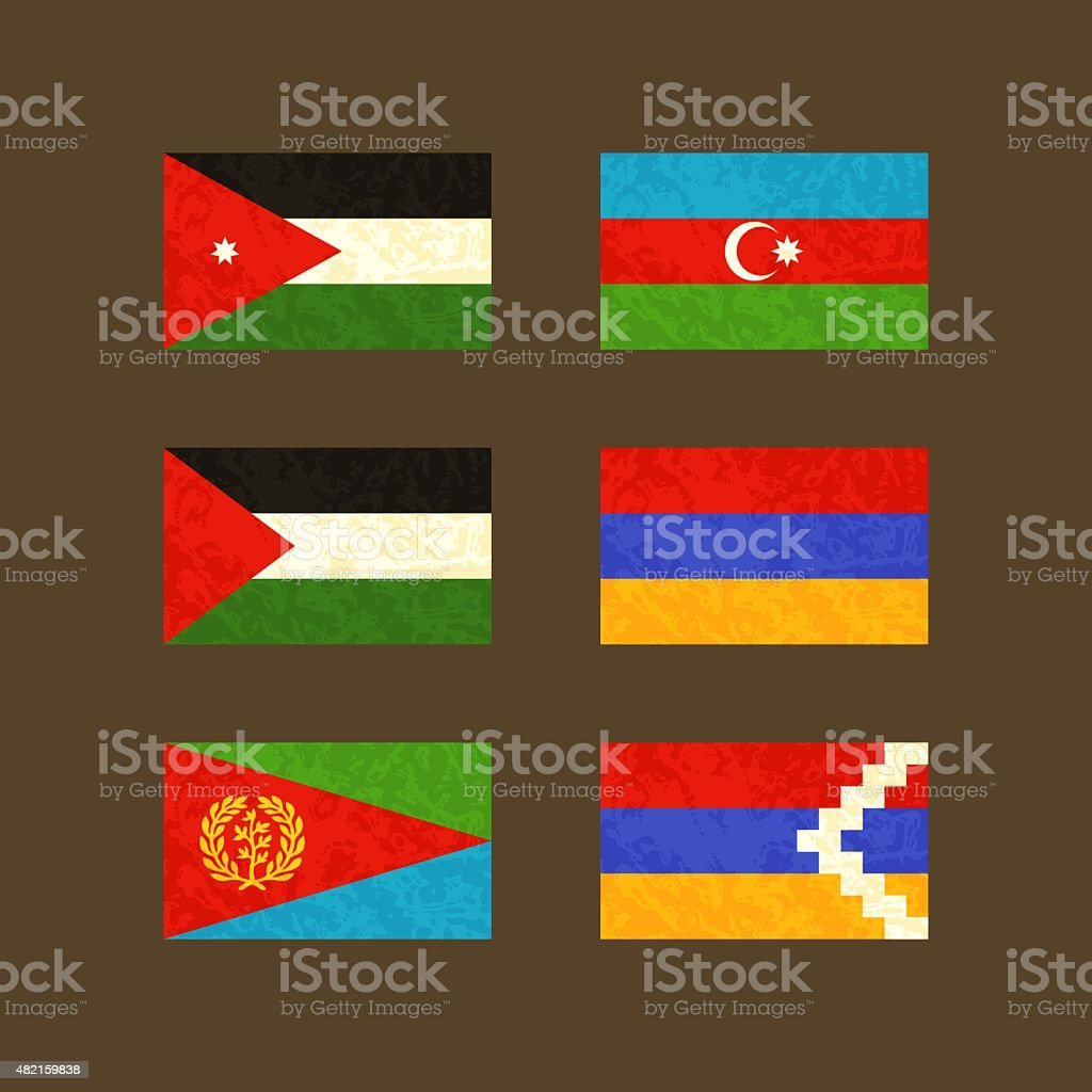 Flags of Jordan, Azerbaijan, Palestine, Armenia, Eritrea and Nagorno-Karabakh vector art illustration