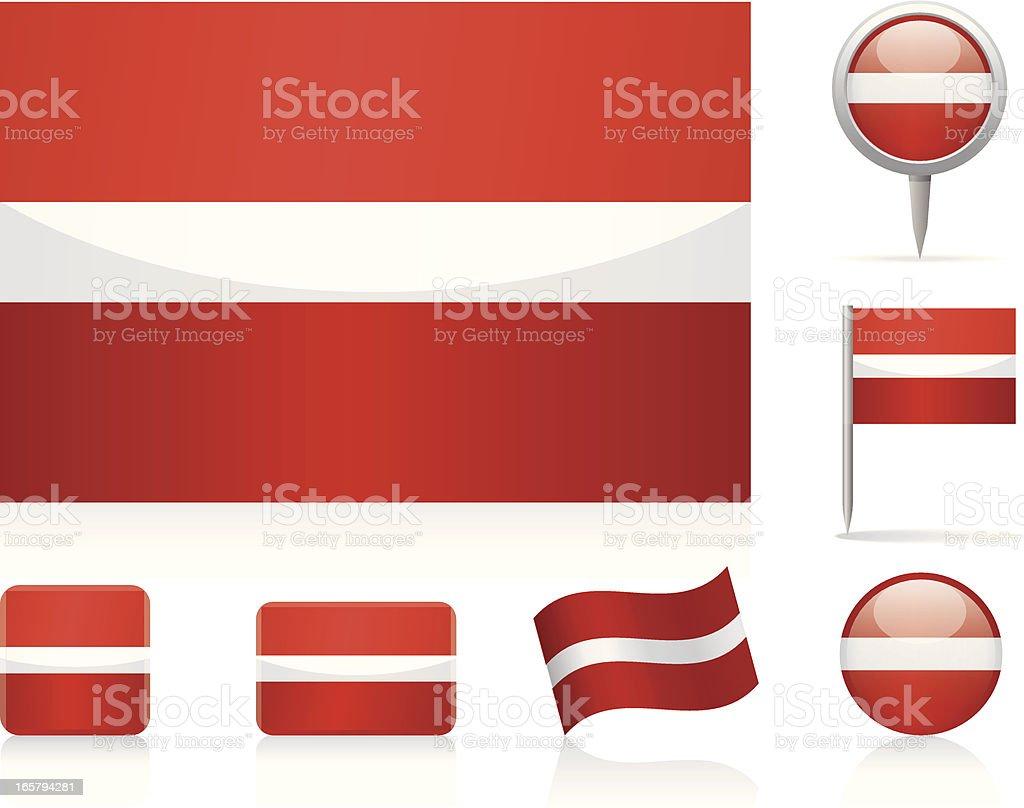Flags of Latvia - icon set vector art illustration