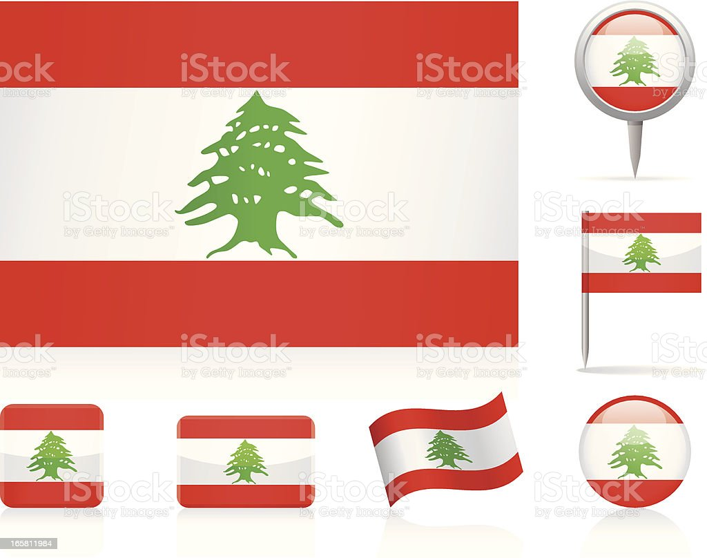 Flags of Lebanon - icon set royalty-free stock vector art