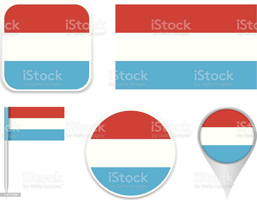 Flags of Luxembourg vector art illustration