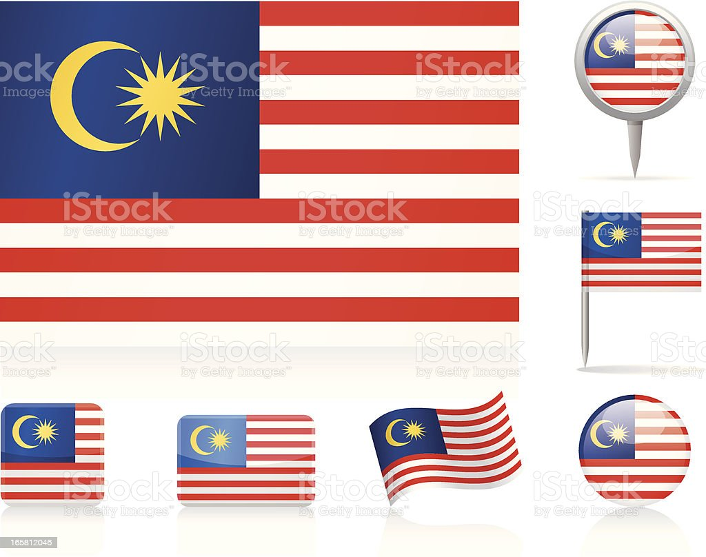 Flags of Malaysia - icon set vector art illustration