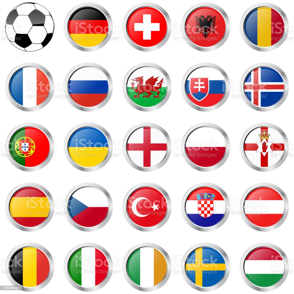flags of national teams for soccer match vector art illustration
