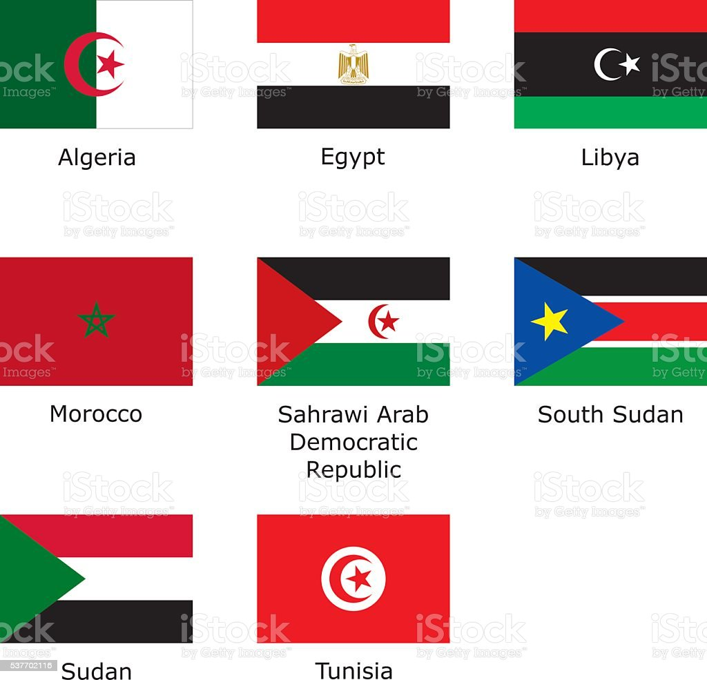 flags of North Africa vector art illustration