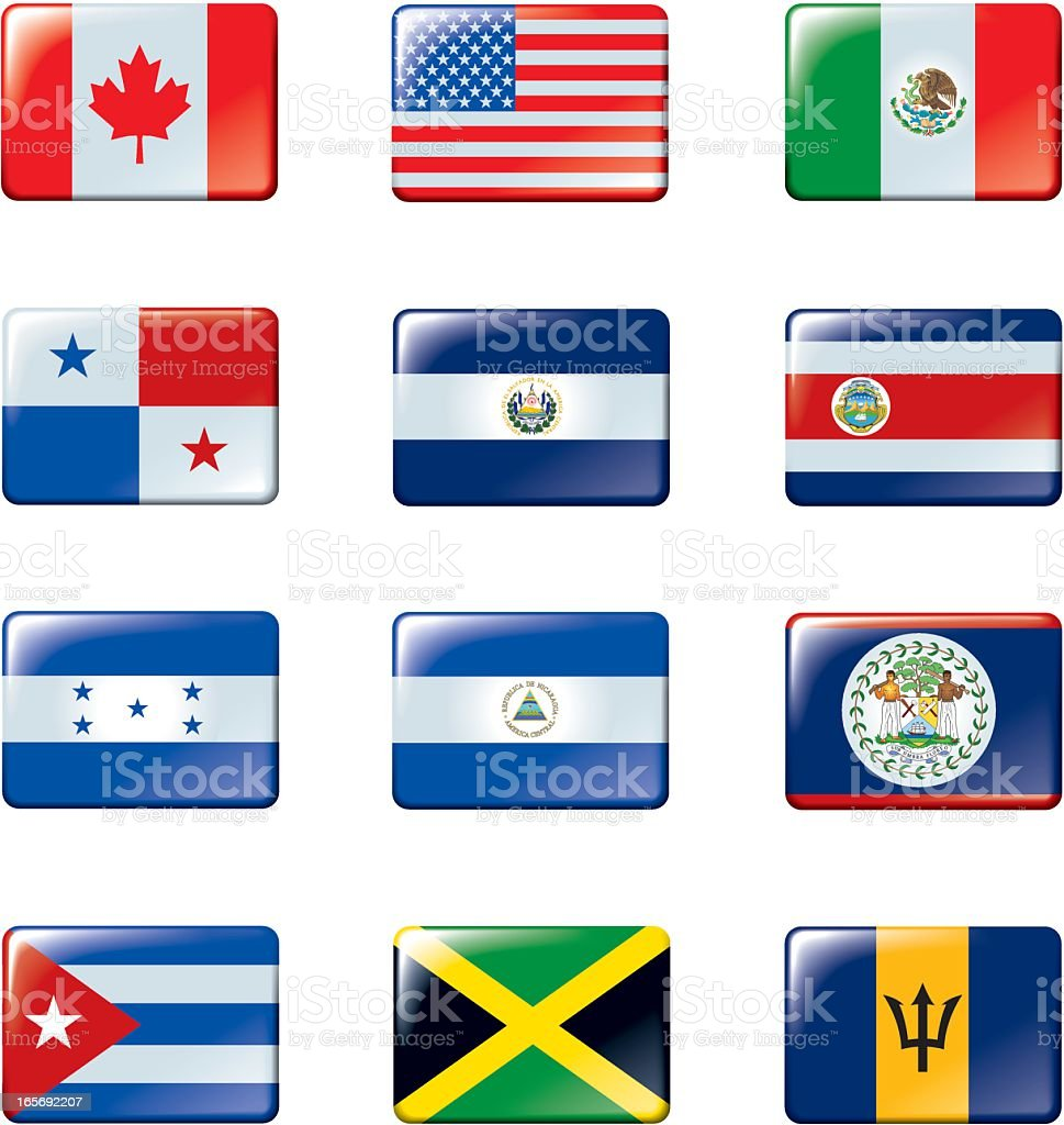 Flags of North America. 1/2 royalty-free stock vector art