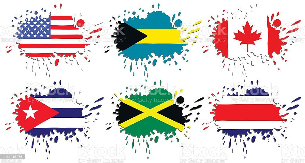 Flags of North America as spots vector art illustration