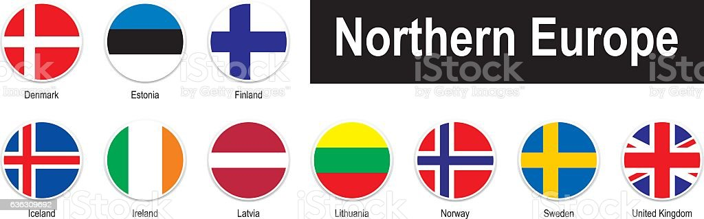flags of Northern Europe vector art illustration