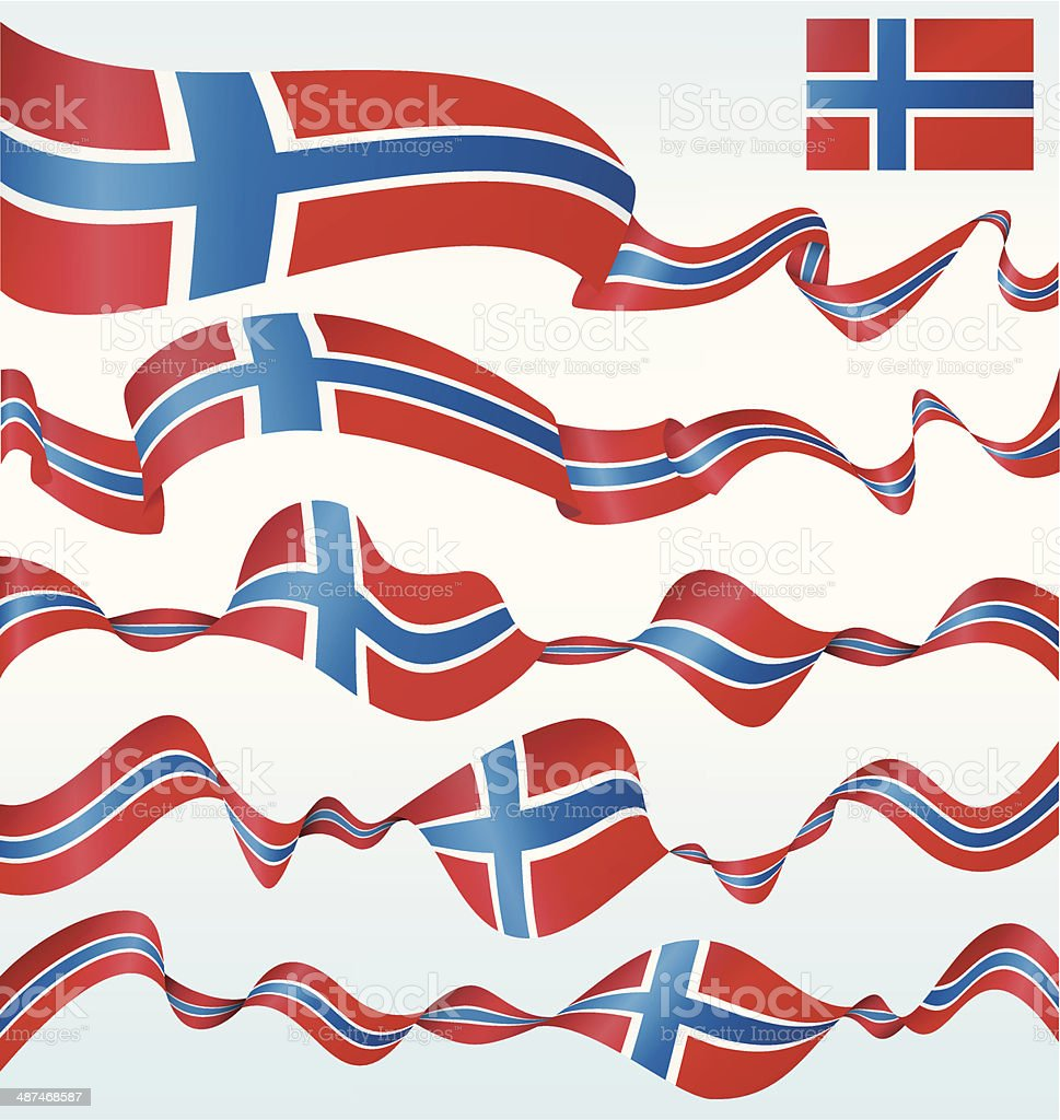 Flags of Norway - banners vector art illustration