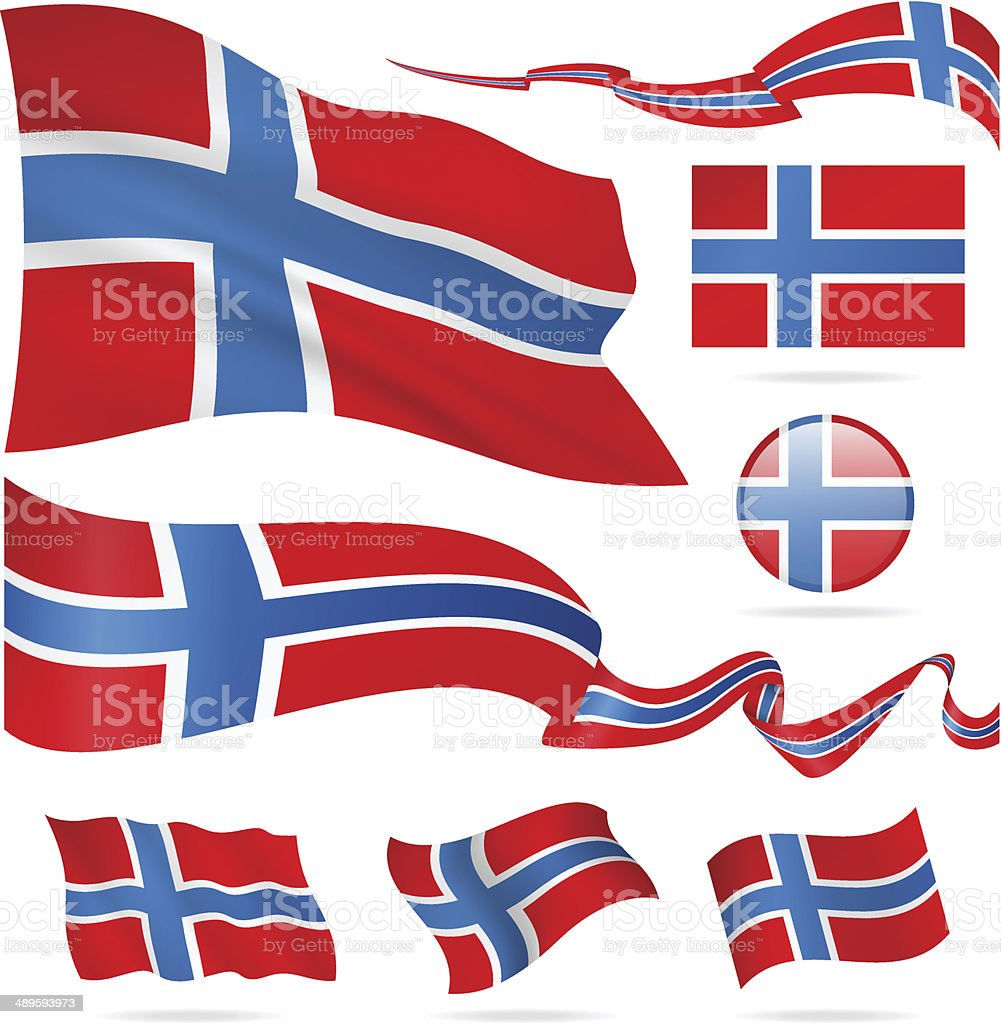 Flags of Norway - icon set - Illustration vector art illustration