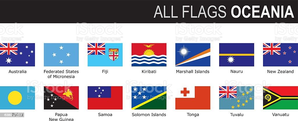 flags of Oceania vector art illustration
