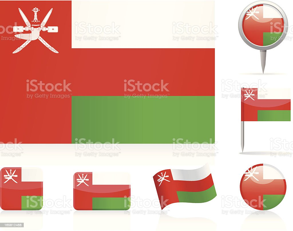 Flags of Oman - icon set royalty-free stock vector art