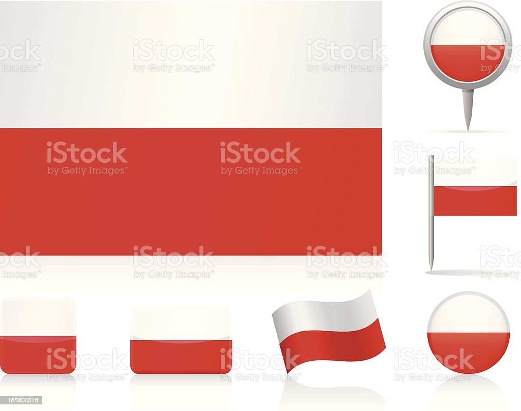 Flags of Poland - icon set royalty-free stock vector art