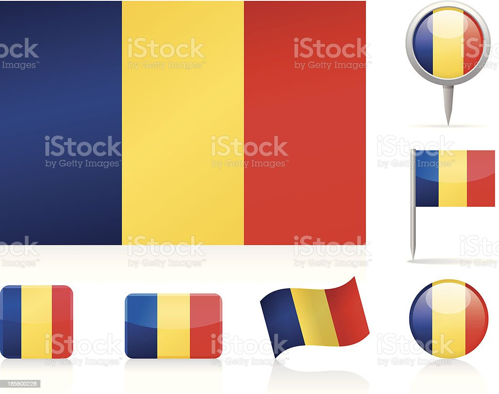 Flags of Romania - icon set royalty-free stock vector art