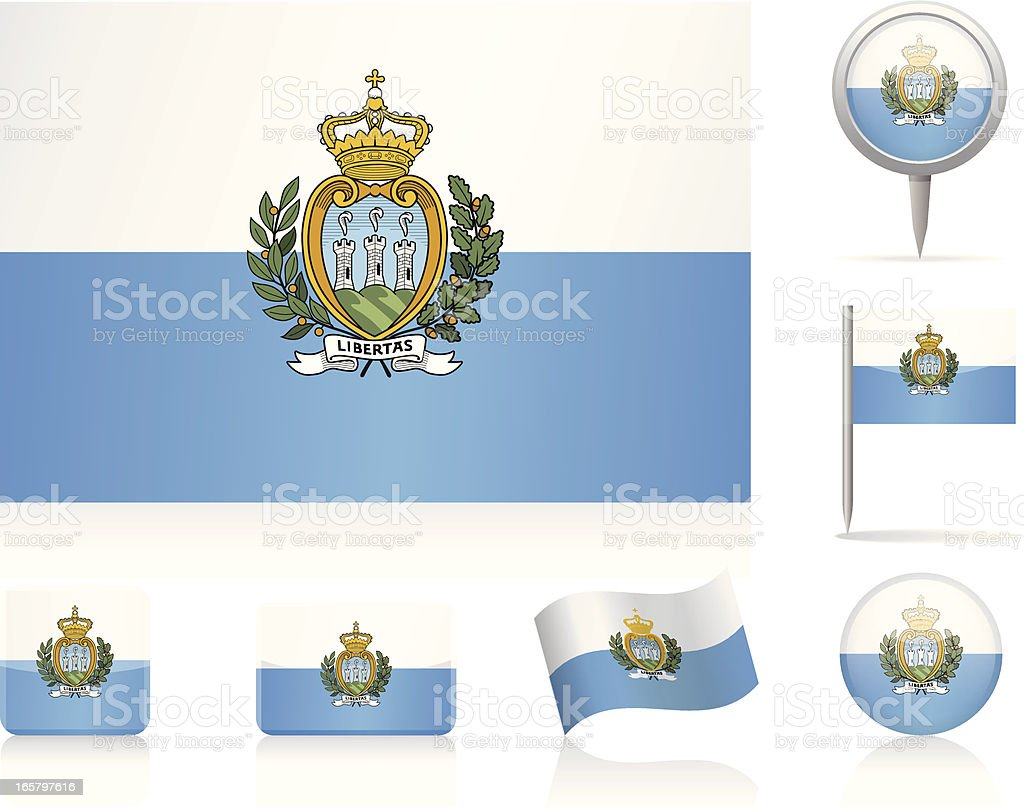 Flags of San Marino - icon set royalty-free stock vector art
