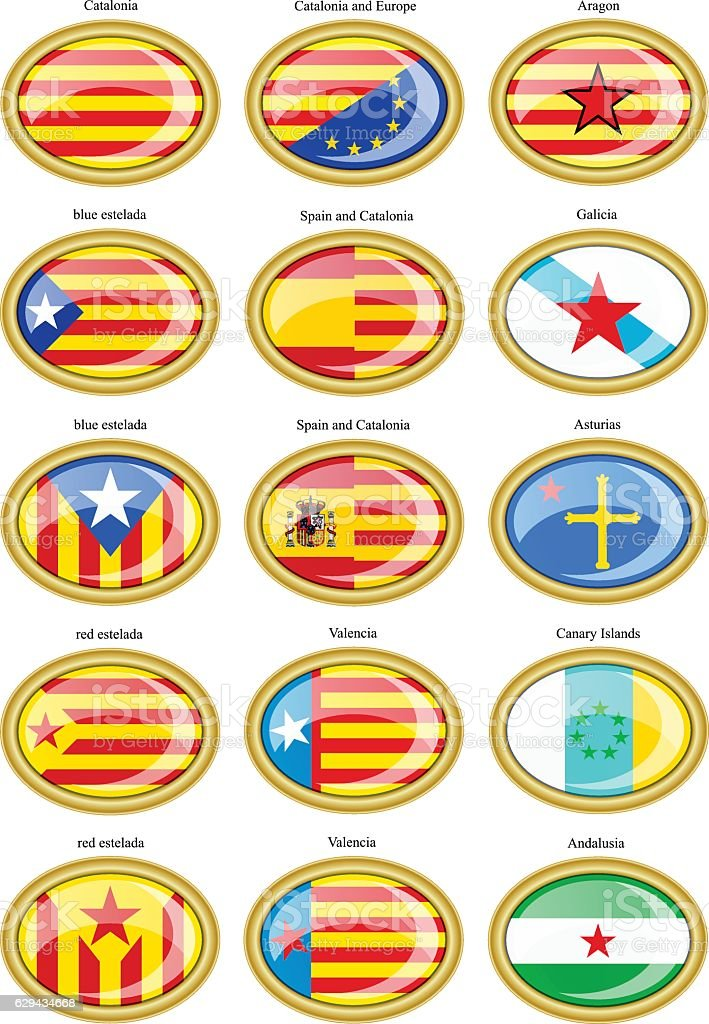 Flags of separatist movements within Spain vector art illustration