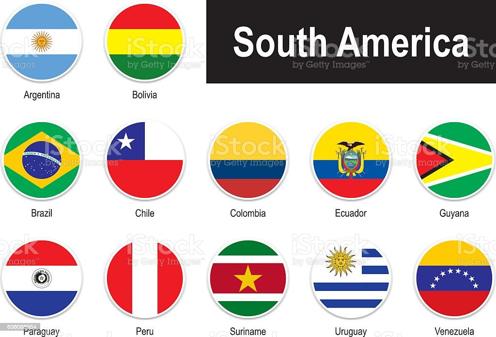 flags of South America vector art illustration