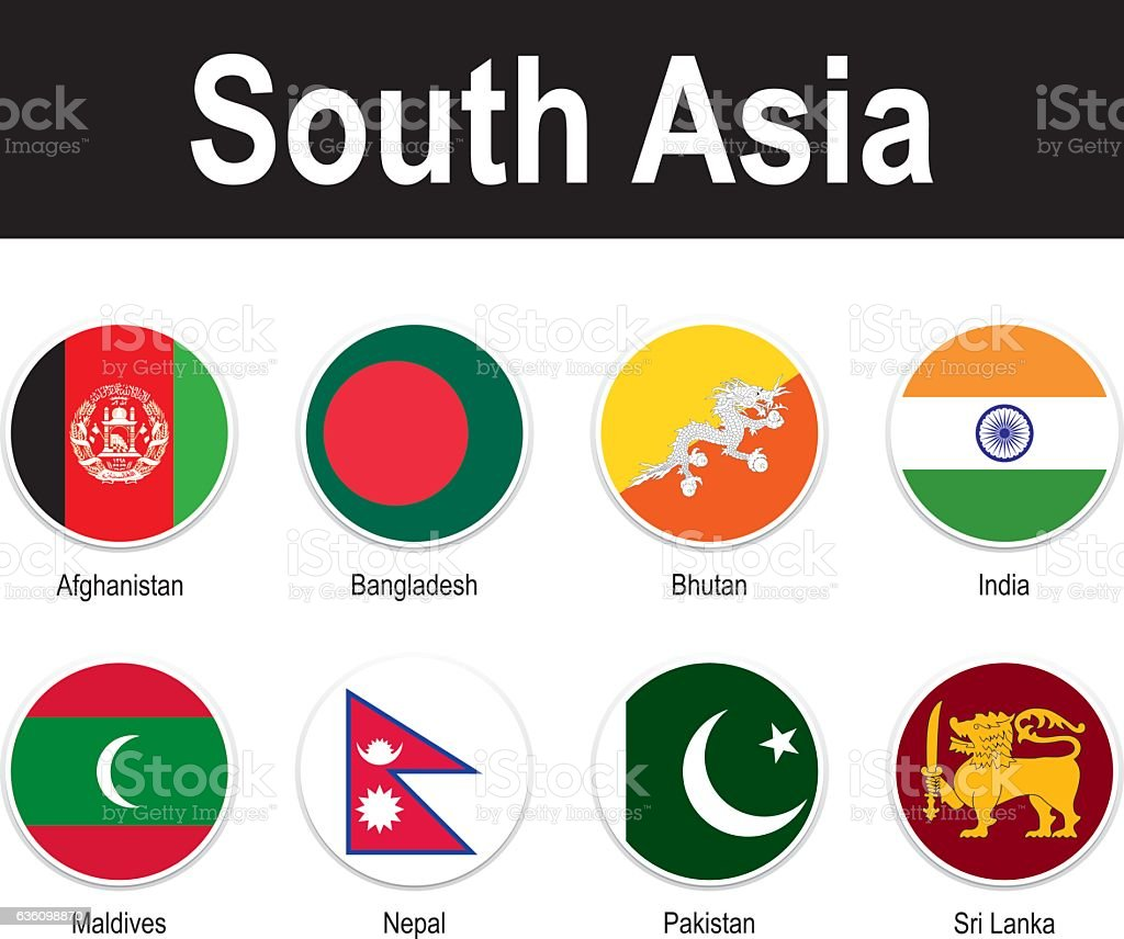 flags of South Asia vector art illustration