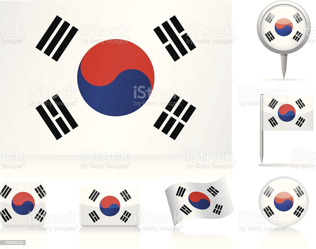 Flags of South Korea - icon set vector art illustration