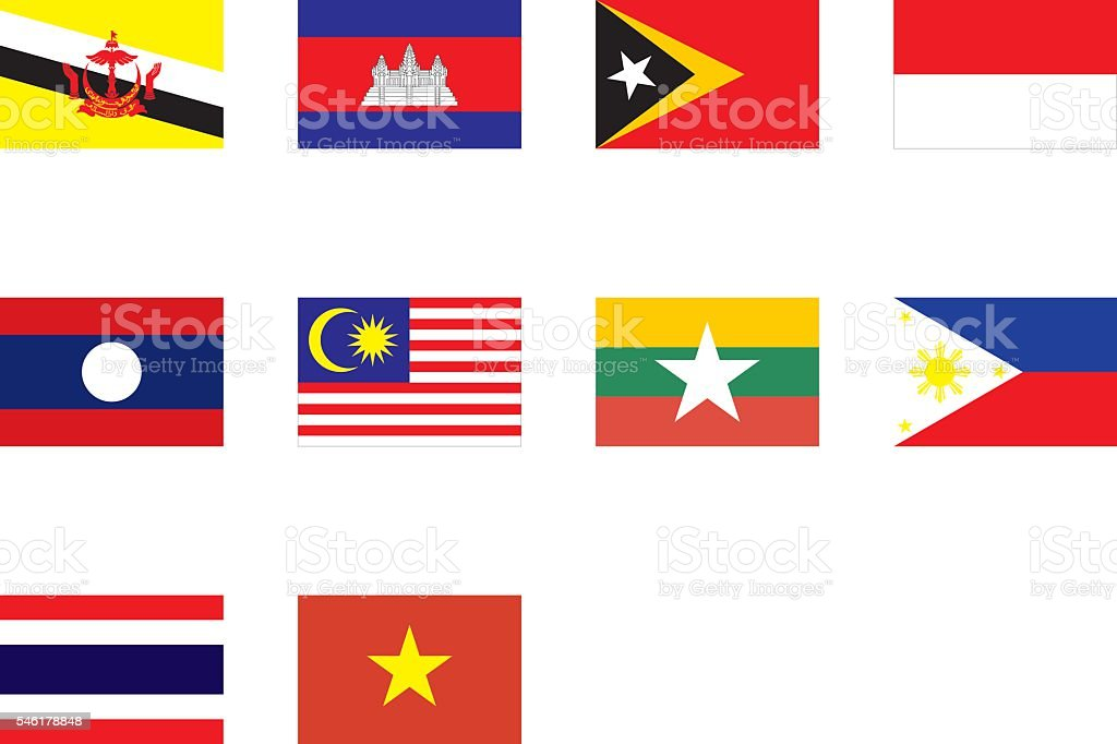 flags of Southeast Asia vector art illustration