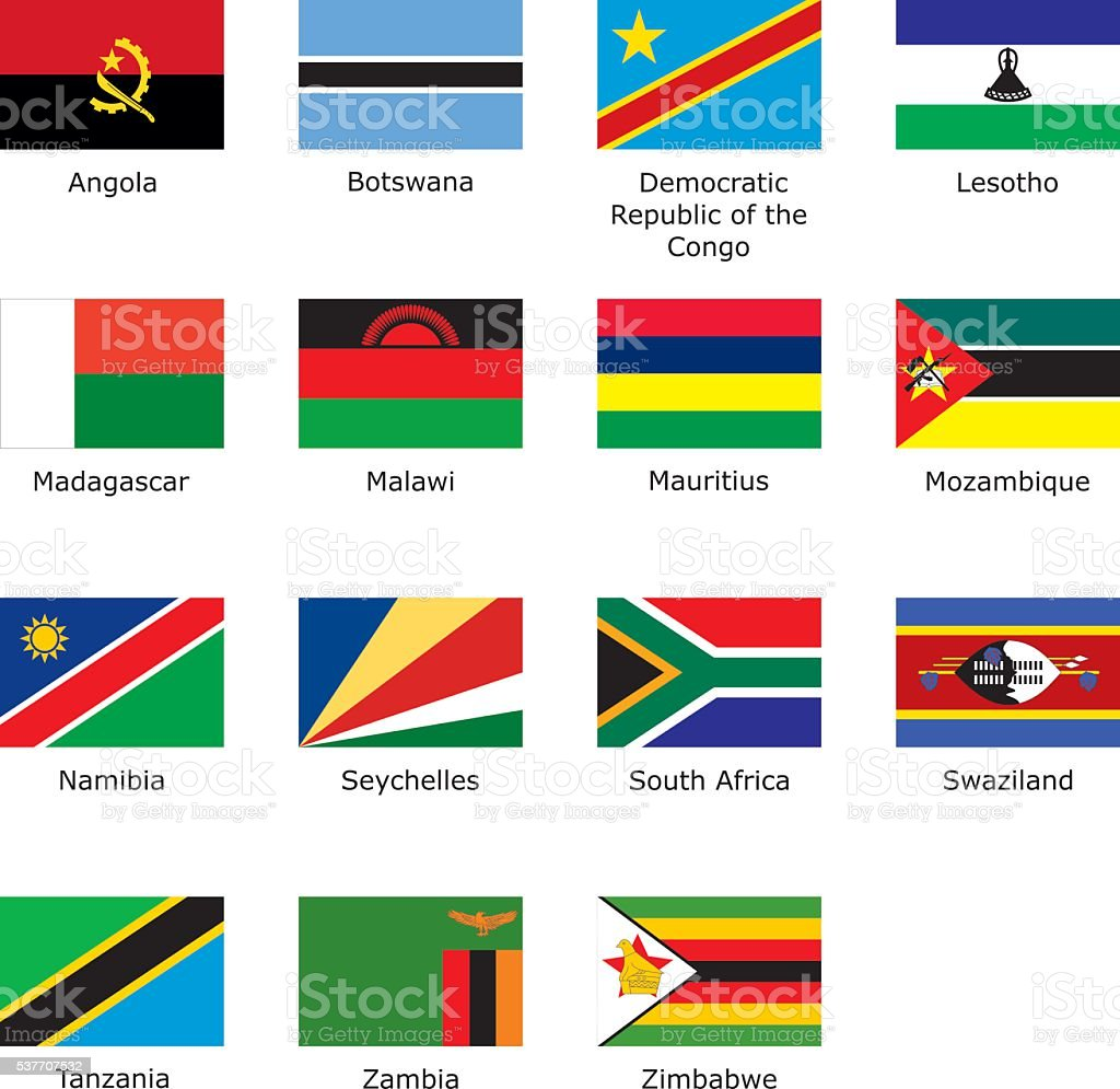 flags of Southern Africa vector art illustration