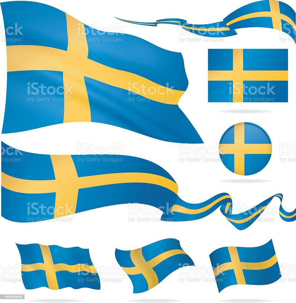 Flags of Sweden - icon set - Illustration vector art illustration