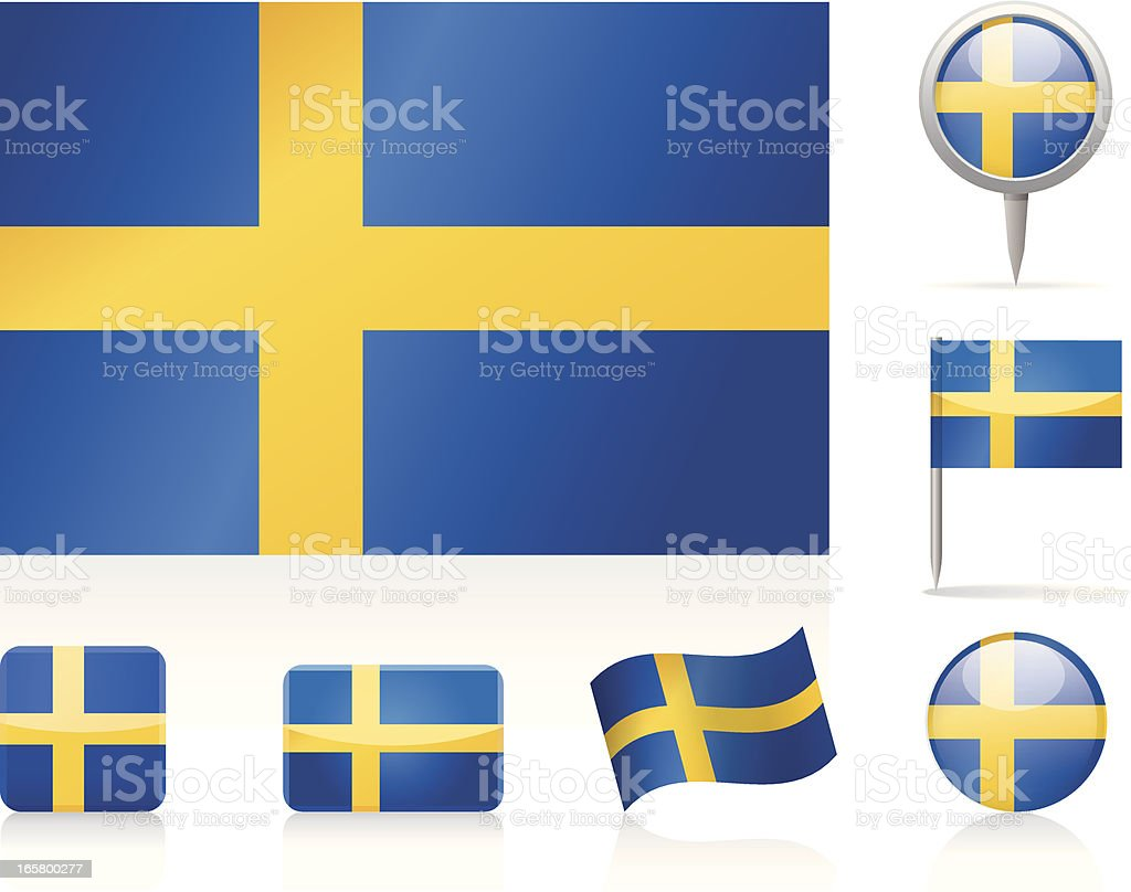Flags of Sweden - icon set royalty-free stock vector art
