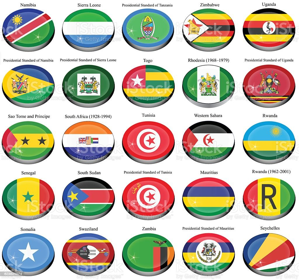 Flags of the Africa vector art illustration