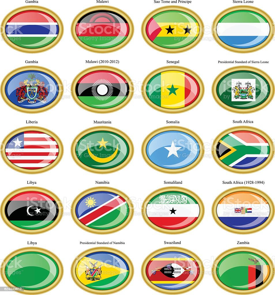 Flags of the Africa. vector art illustration
