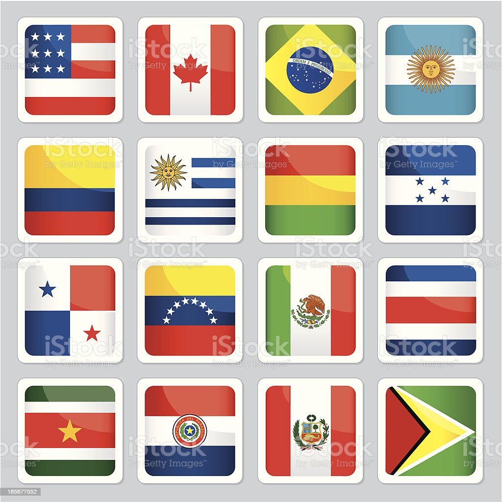 Flags of the Americas icons royalty-free stock vector art