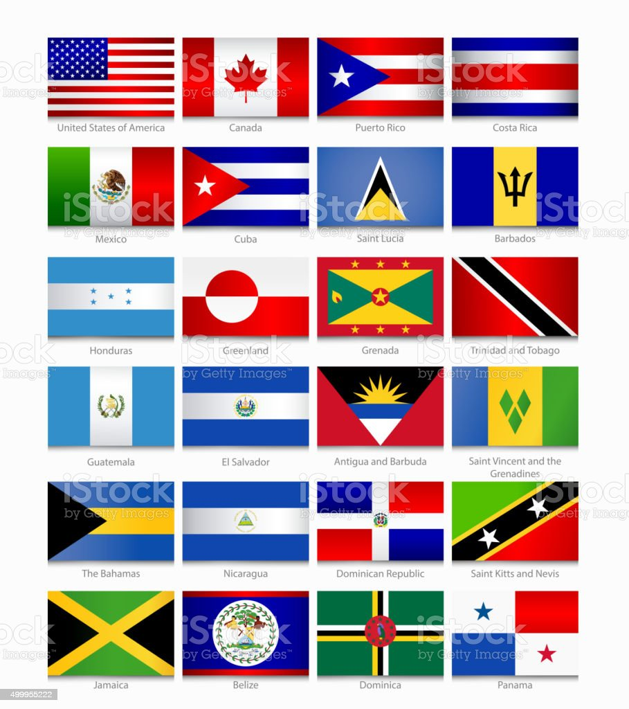 Flags of the Americas. Part 1 vector art illustration