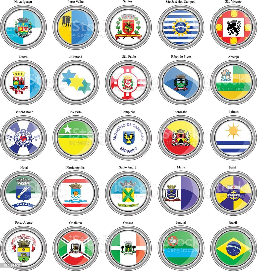 Flags of the Brazilian cities vector art illustration