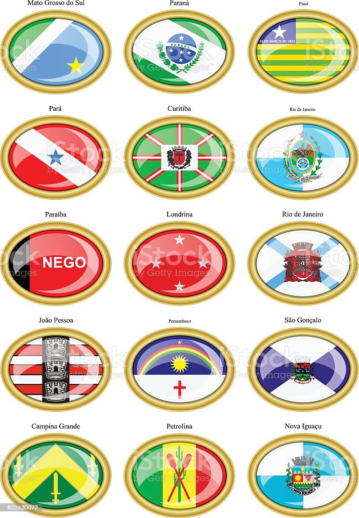 Flags of the Brazilian states and cities vector art illustration