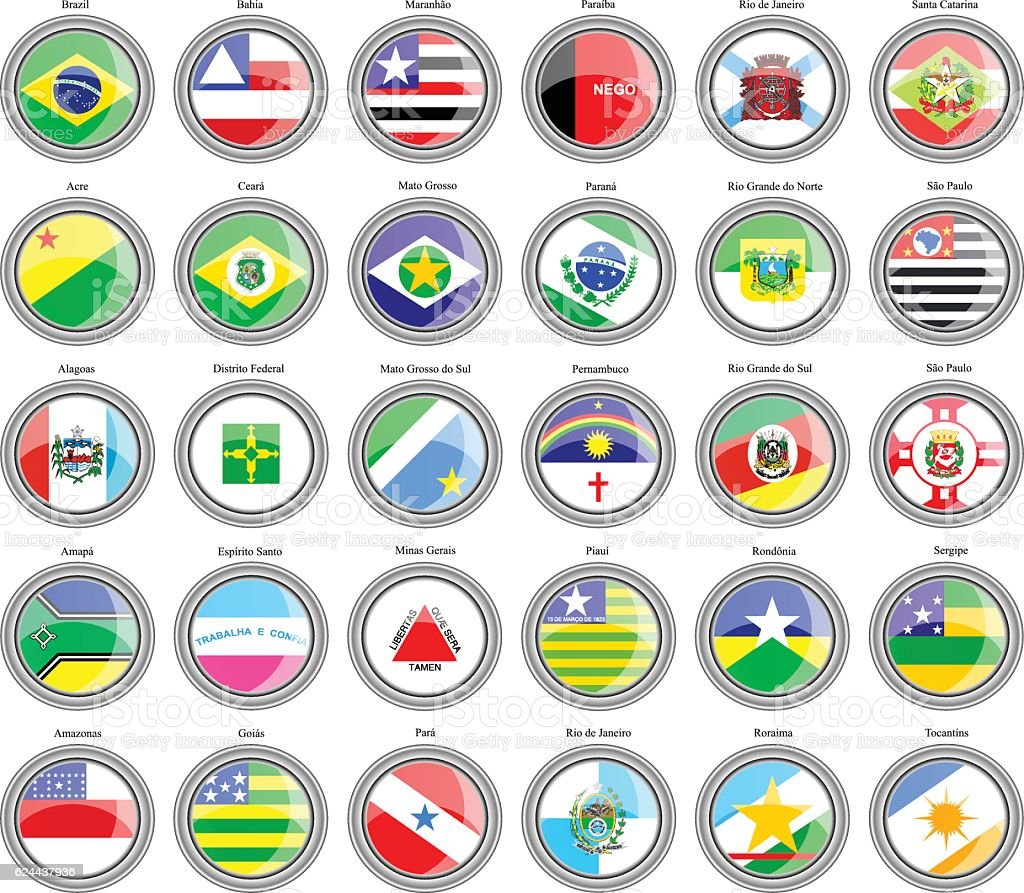 Flags of the Brazilian states vector art illustration