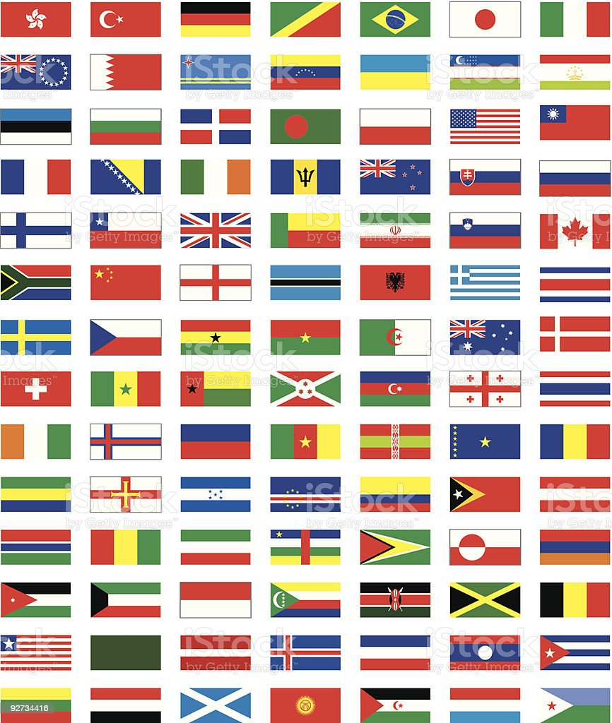 flags of the countries vector art illustration