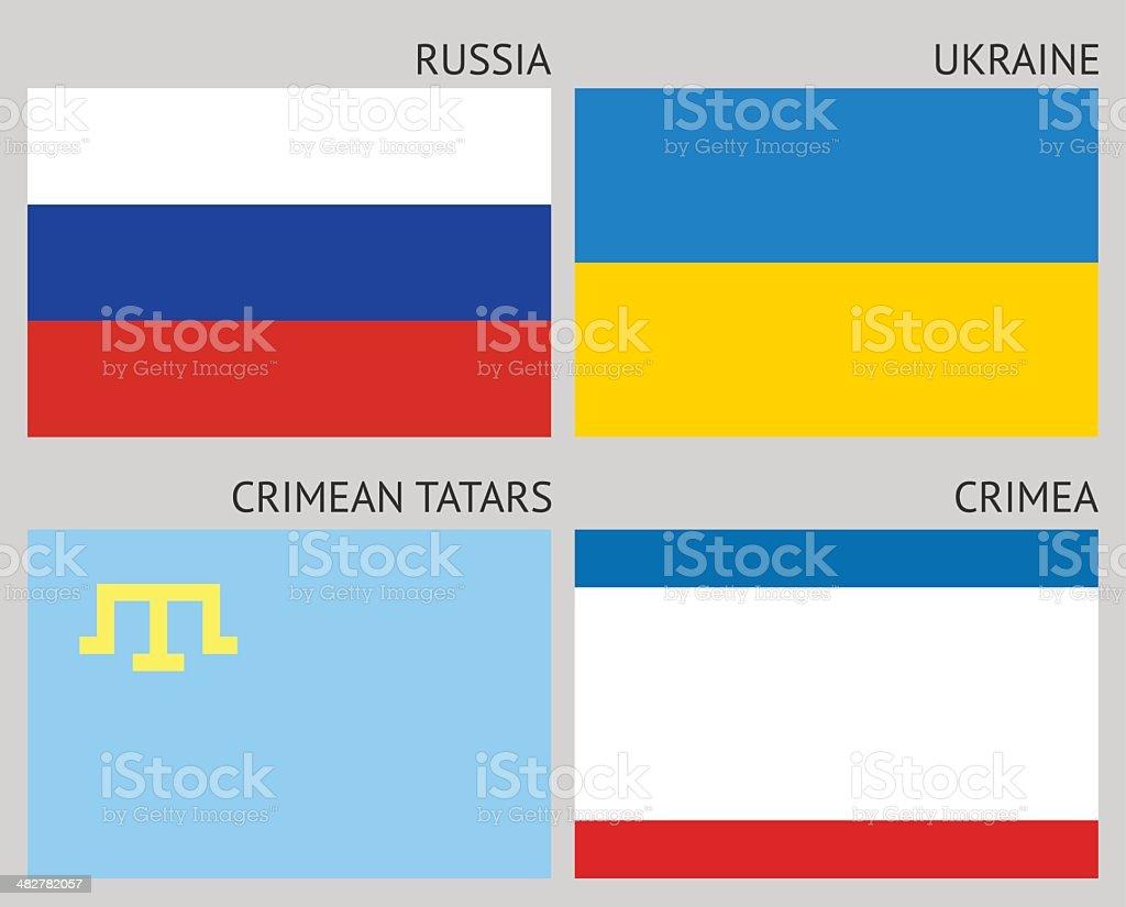 Флаги на полуострове векторная иллюстрация