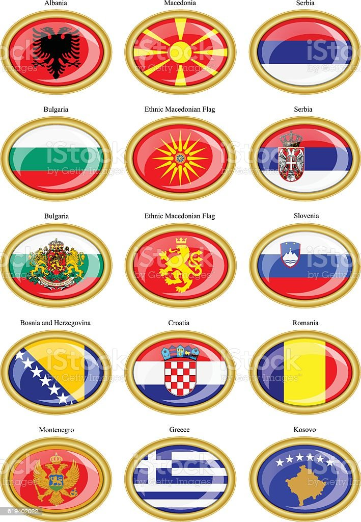 Flags of the Europe (Balkan countries) vector art illustration