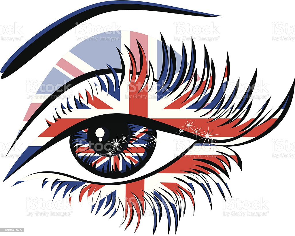 Flags of the Great Britain in beautiful female eye royalty-free stock vector art