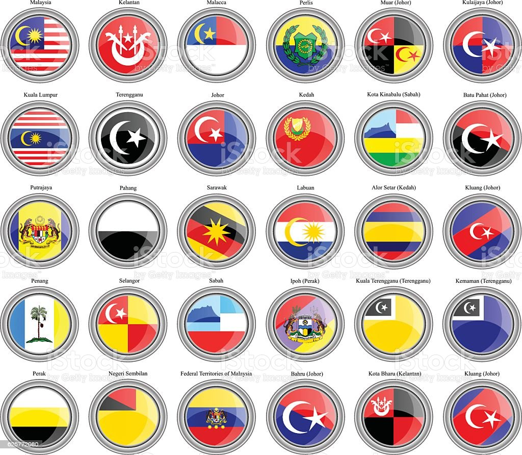 Flags of the Malaysian states and cities vector art illustration