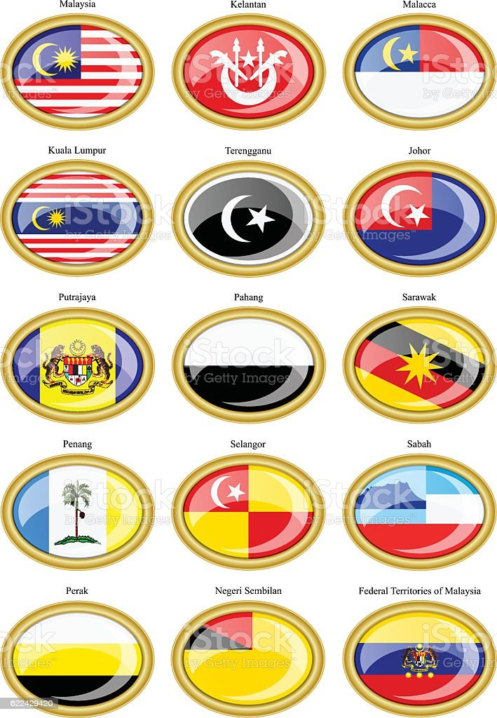 Flags of the Malaysian states vector art illustration
