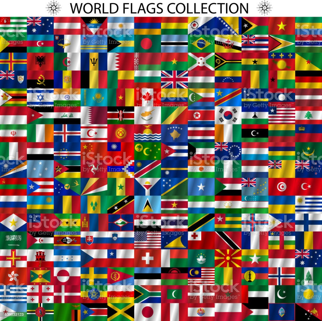Flags of the world and  map vector art illustration