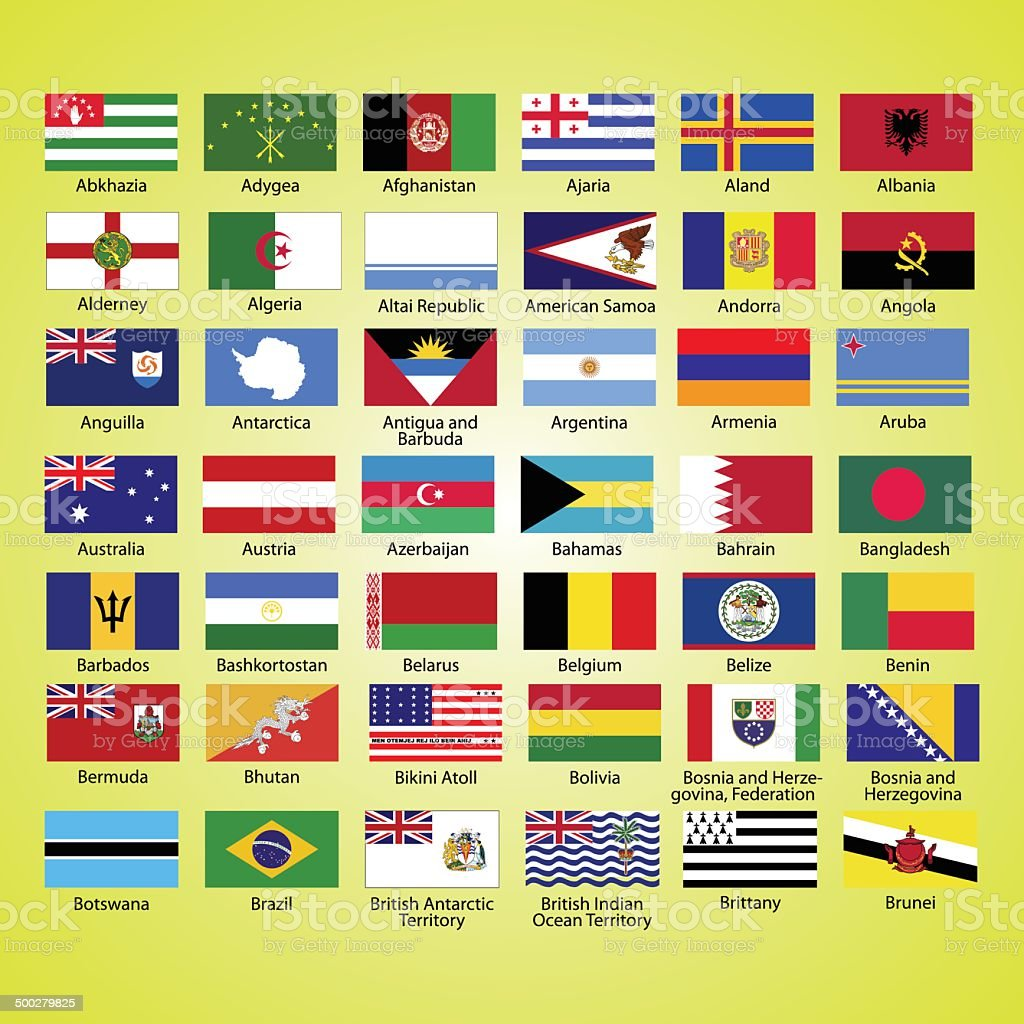 Flags of the world, collection, listed alphabetically icon vector art illustration