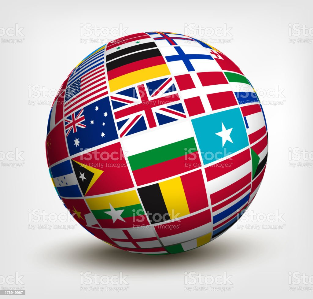 Flags of the world in globe. royalty-free stock vector art