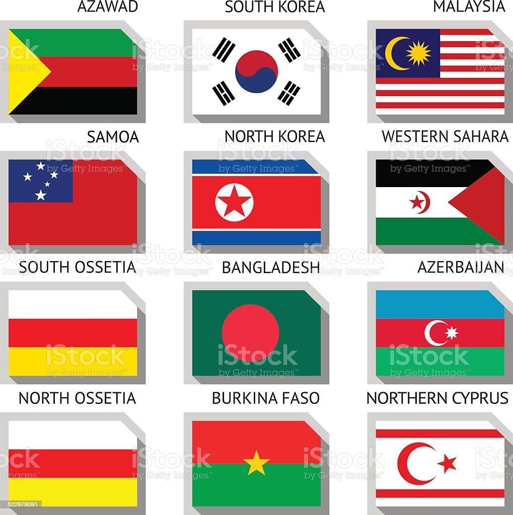 Flags of the world vector art illustration