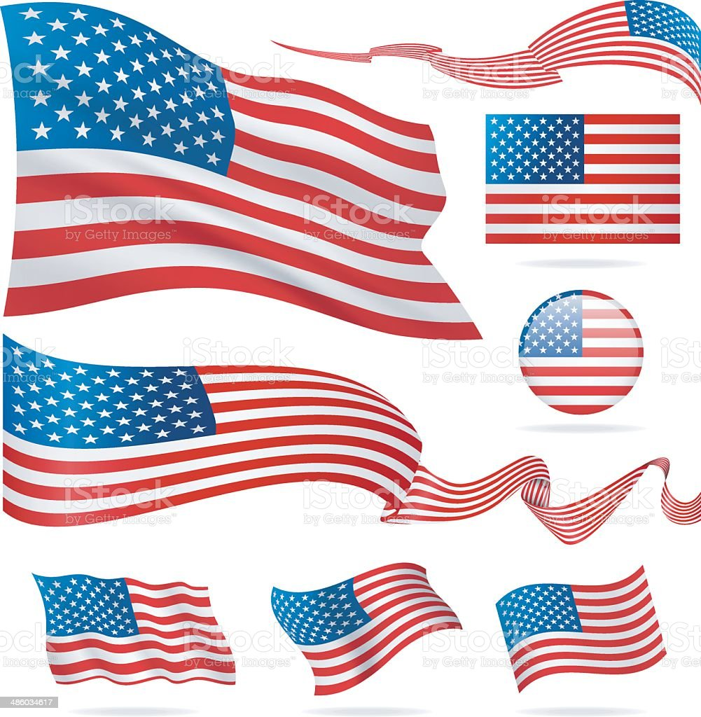 Flags of USA - icon set - Illustration vector art illustration