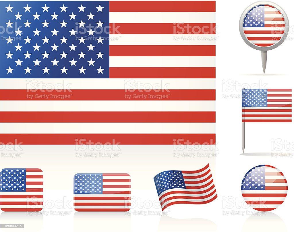 Flags of USA vector art illustration